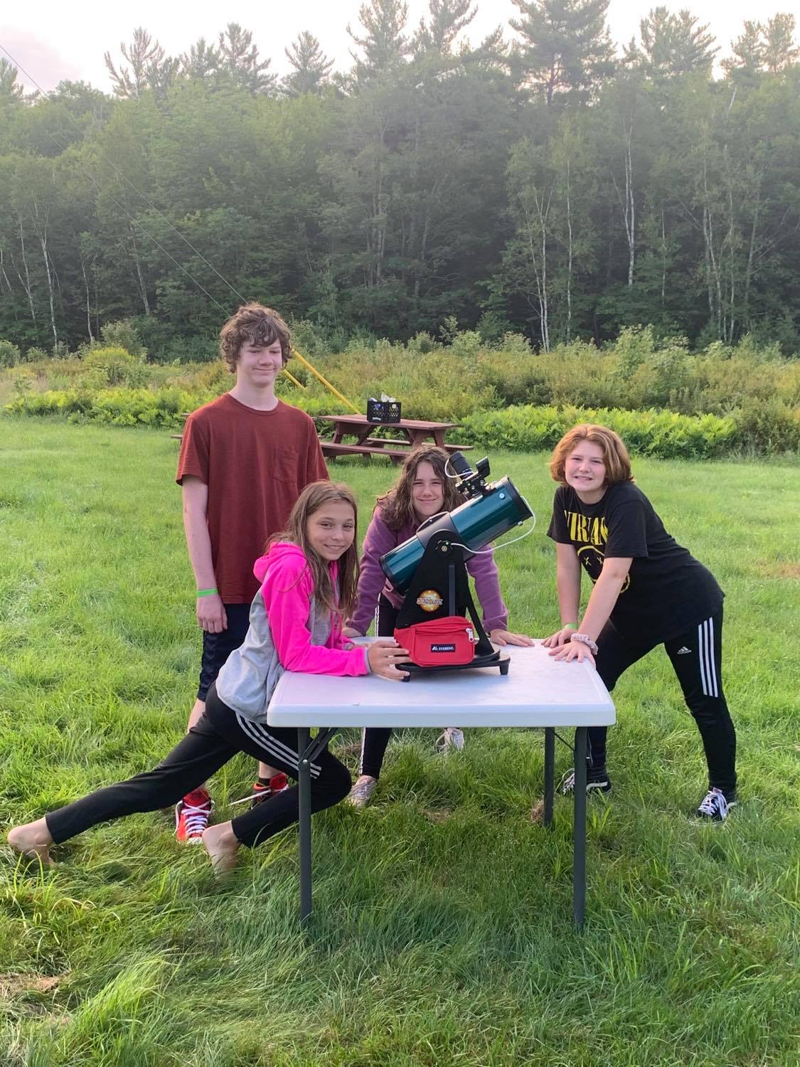 Campers at Camp Susan Curtis with Cornerstones Telescope