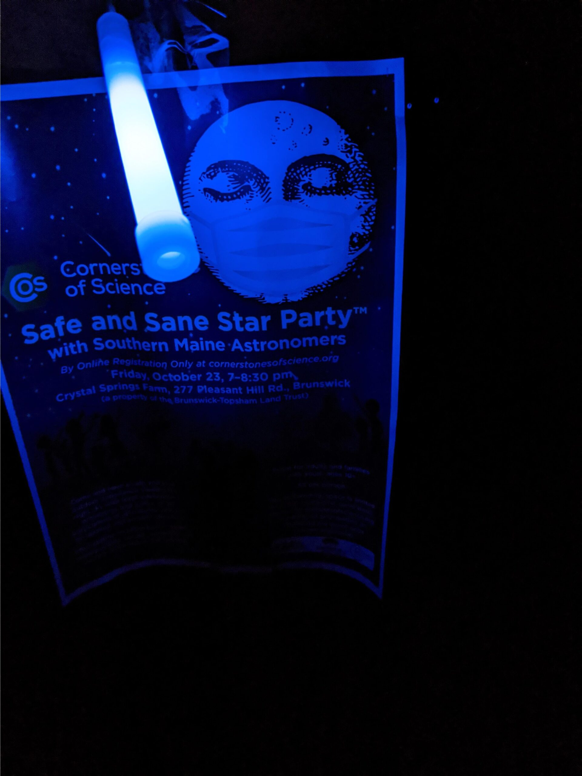 Safe and Sane Star Party Flyer with glow stick