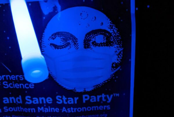 Safe and Sane Star Party Flyer illuminated by glow stick