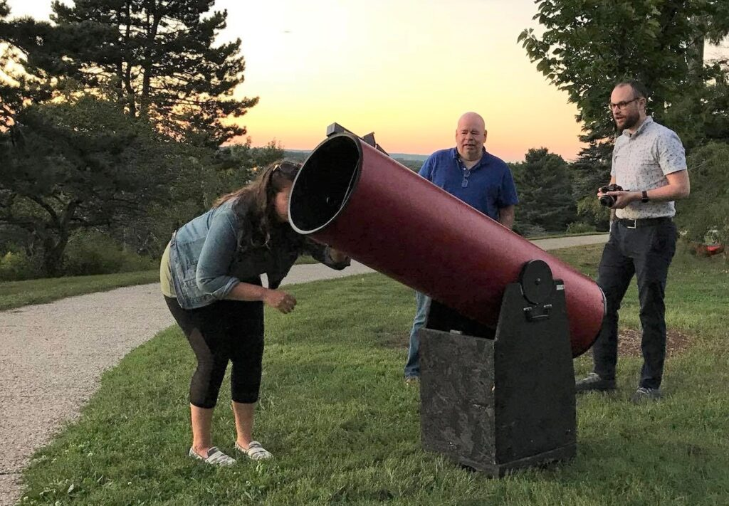 James Shields and friends with his Dobsonian telescope