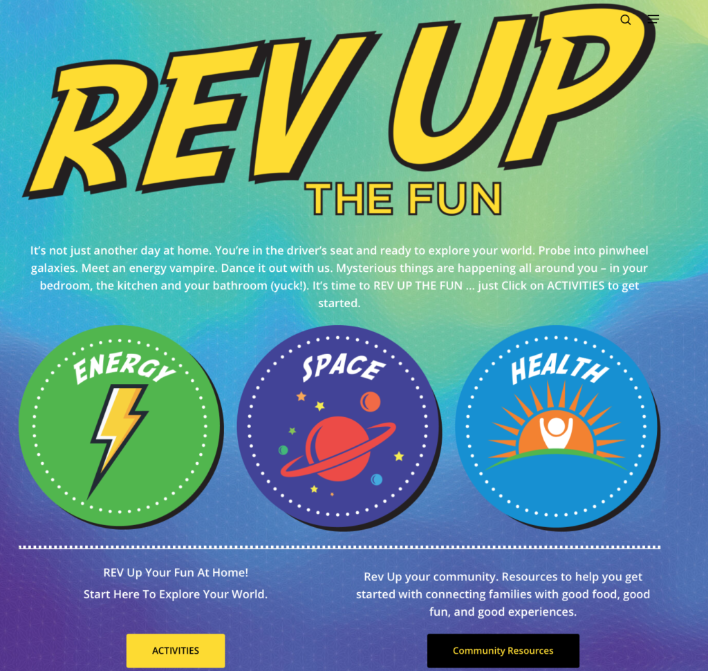 front page of the Rev Up the Fun website